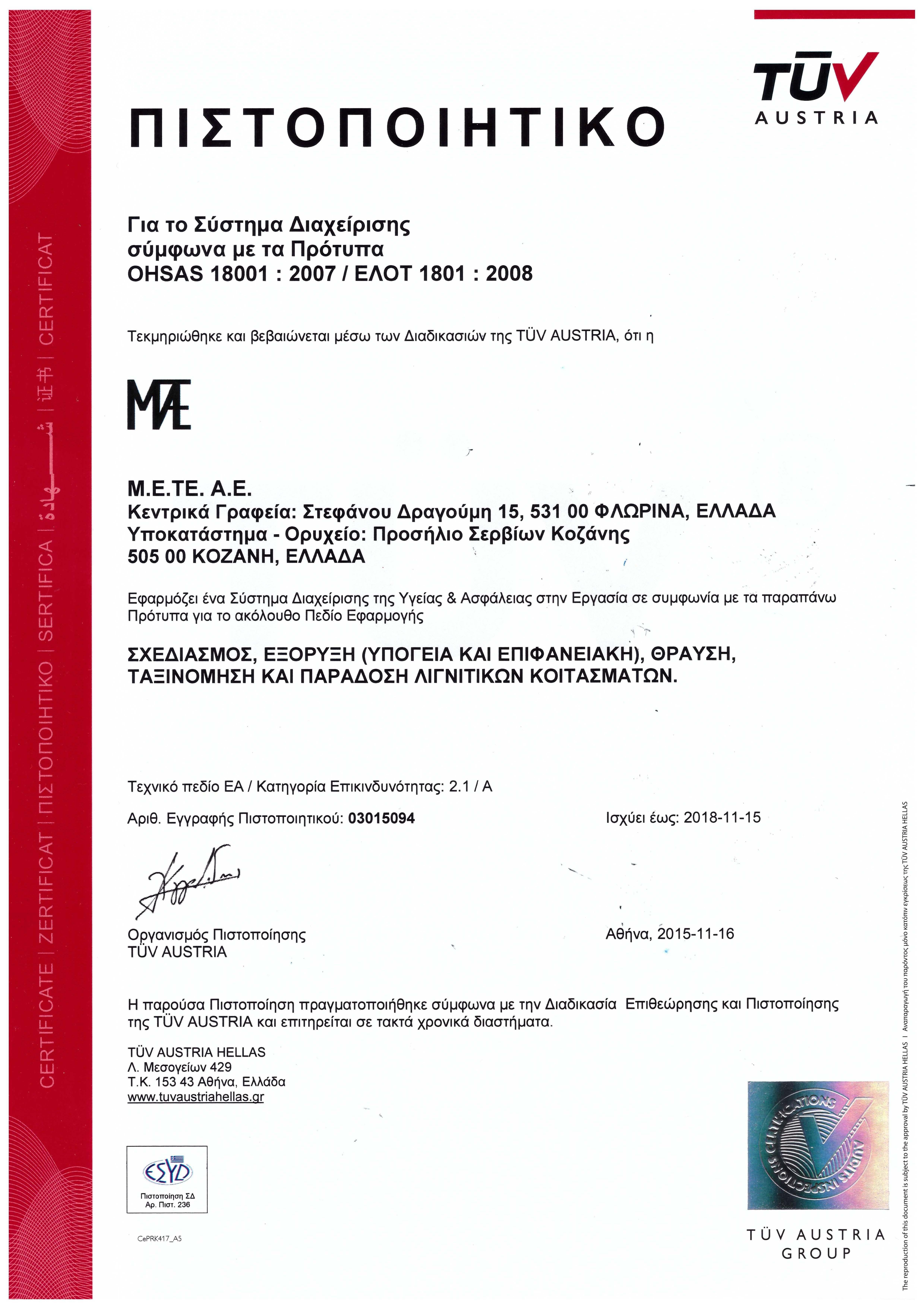 9.3 OHSAS 18001 EL